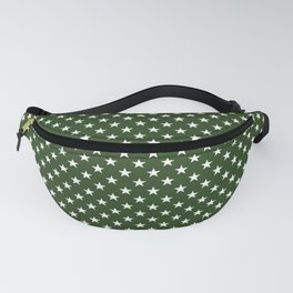 White Five Pointed Stars on Dark Forest Green Fanny Pack