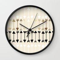 arrows Wall Clocks featuring Arrows by Tangerine-Tane