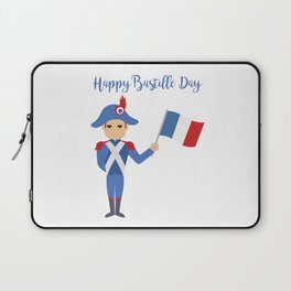 Soldier holding the French flag - Bastille Day Laptop Sleeve