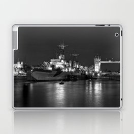 HMS Belfast in Black and White Laptop & iPad Skin
