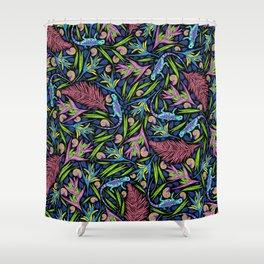 Tropical Neon Pattern: Blue Iguanas Shower Curtain