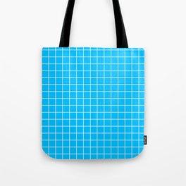 Capri - turquoise color - White Lines Grid Pattern Tote Bag
