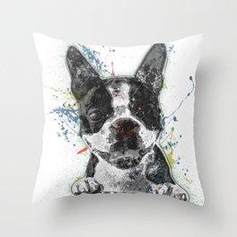 Boston Terrier Paint Splatter Throw Pillow