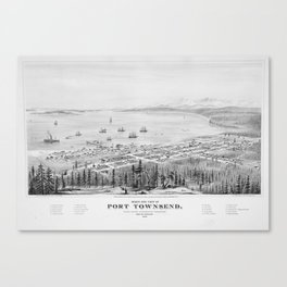 Vintage Pictorial Map of Port Townsend WA (1878) Canvas Print