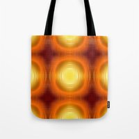 70s Tote Bags featuring Flashy 70s,effect,red by MehrFarbeimLeben