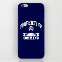 stargate iPhone & iPod Skins featuring Property of Stargate Command Athletic Wear White ink by RockatemanDesigns