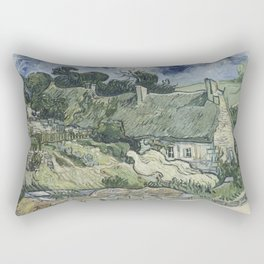 Vincent van Gogh - Thatched Cottages at Cordeville Rectangular Pillow