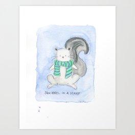 Squirrel in a Scarf Art Print