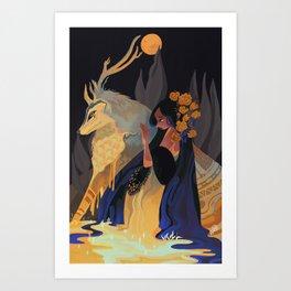 Blue gold drop Art Print