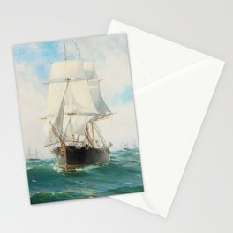 Vintage Swedish Sailboat Painting (1887) Stationery Cards