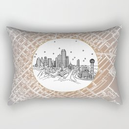 Dallas, Texas City Skyline Illustration Drawing Rectangular Pillow