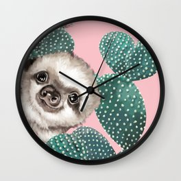 Sneaky Baby Sloth and Cactus in Pink Wall Clock