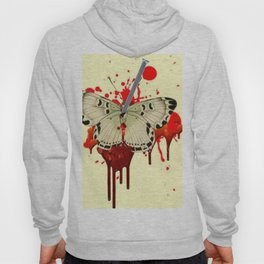 HUMOROUS SURREAL NAILED BLEEDING VAMPIRE BUTTERFLY Hoody