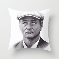 bill murray Throw Pillows featuring Drawing of Bill Murray by Brittni DeWeese