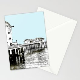 Penarth Pier Cardiff sketch with blue sky Stationery Cards