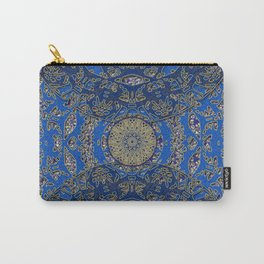Blue Gold Lacy Mandalas Carry-All Pouch