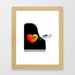 Singing Piano Heart. Framed Art Print
