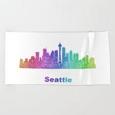 Rainbow Seattle skyline Beach Towel