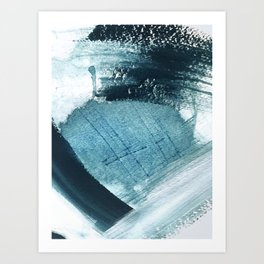 Pacific: a minimal abstract mixed media piece in blues and white Art Print