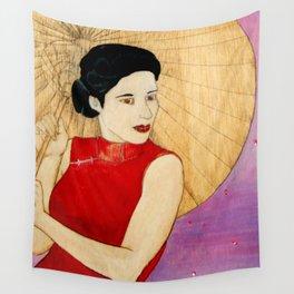 Umbrella Girl Wall Tapestry