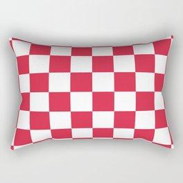 Red, Cherry: Checkered Pattern Rectangular Pillow