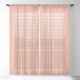 Just Wear A F*cking Mask in Peach Gradient Sheer Curtain