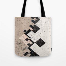 Distressed Subdued Tile Blocks Pattern Tote Bag