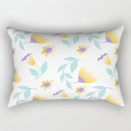 yellow flowers and teal leaves Rectangular Pillow