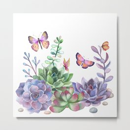 A Splendid Secret Succulent Garden With Butterfly Visitors Metal Print