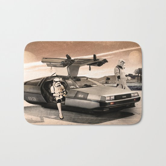 2 Stormtrooopers in a Hover DeLorean  Bath Mat