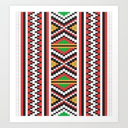 Slavic cross stitch pattern with red green orange black white Art Print
