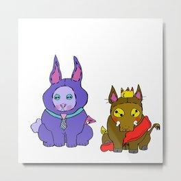 Stuffies Prince Hog & Busy Bunny Metal Print