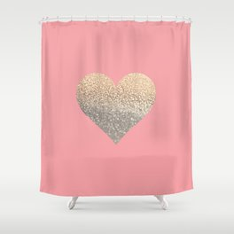 GOLD HEART CORAL Shower Curtain