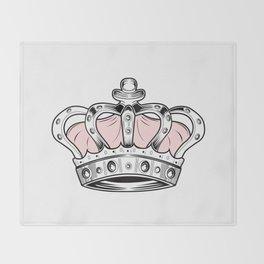 Crown - Pink Throw Blanket