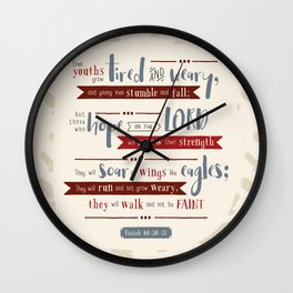 """""""Hope in the Lord"""" Hand-Lettered Bible Verse Wall Clock"""