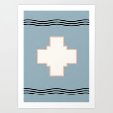 Cross tribal wave Art Print