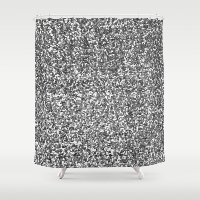 Silver sequin Shower Curtain by asikoart   Society6