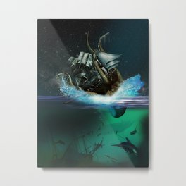 Kraken Attack Metal Print