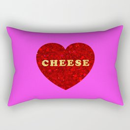 One True Love (Cheese Heart) - Fuchsia Rectangular Pillow
