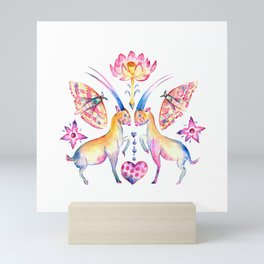 Saola in white Mini Art Print