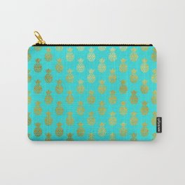 Gold Abstract Pineapples Pattern on Teal Carry-All Pouch