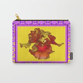 Lilac Purple & Yellow Patterns Golden-Orange  Iris Art Carry-All Pouch