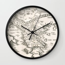 Vintage Map of Greece (1525) Wall Clock