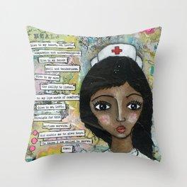 Nurse - African American  Throw Pillow