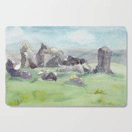 Loughcrew cairns stone circle watercolor painting of Ireland Cutting Board