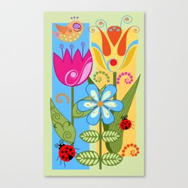 Decorative flowers, ladybugs and a bird Canvas Print