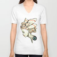 moth V-neck T-shirts featuring Moth 2 by Freeminds