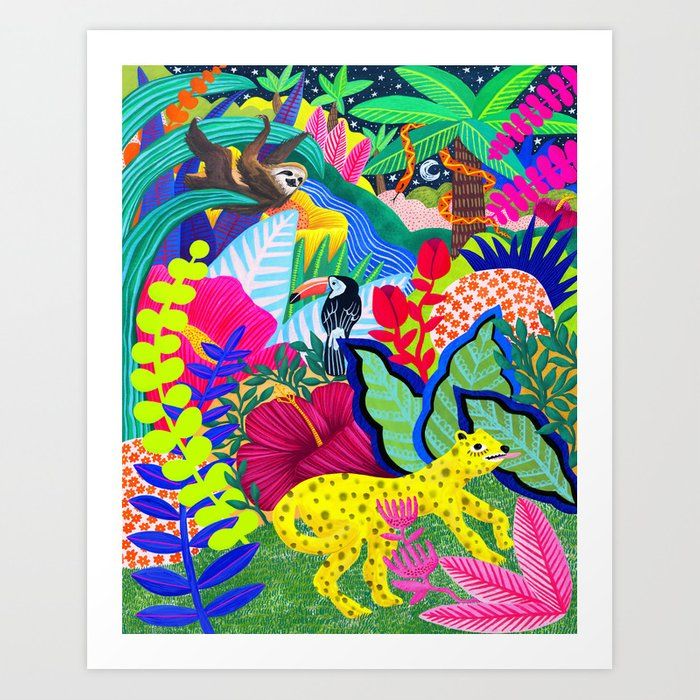 Jungle Party Animals Art Print