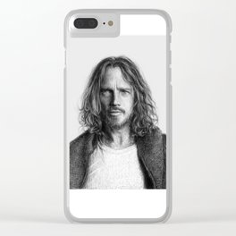 Chris Cornell tribute, black and white Clear iPhone Case
