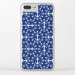 White Anchors & Stars Pattern on Navy Blue Clear iPhone Case